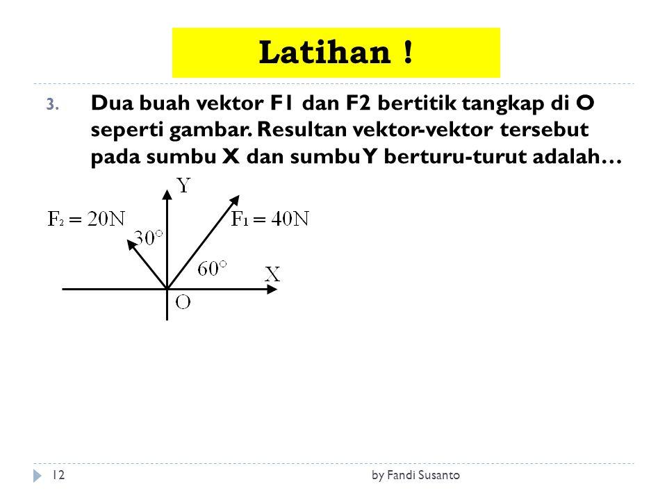 12 3. Dua buah vektor F1 dan F2 bertitik tangkap di O seperti gambar. Resultan vektor-vektor tersebut pada sumbu X dan sumbu Y berturu-turut adalah… L