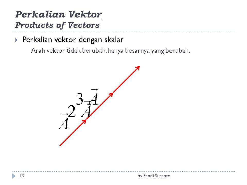 Perkalian Vektor Products of Vectors  Perkalian vektor dengan skalar Arah vektor tidak berubah, hanya besarnya yang berubah. 13by Fandi Susanto