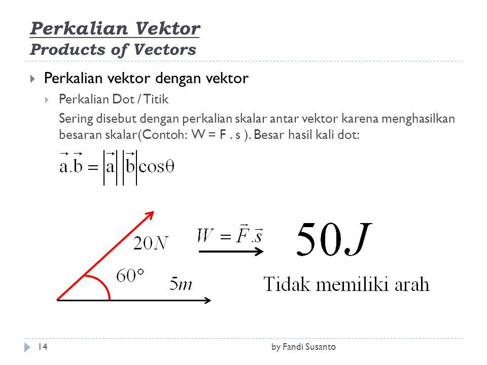 Perkalian Vektor Products of Vectors  Perkalian vektor dengan vektor  Perkalian Dot / Titik Sering disebut dengan perkalian skalar antar vektor karena menghasilkan besaran skalar(Contoh: W = F.