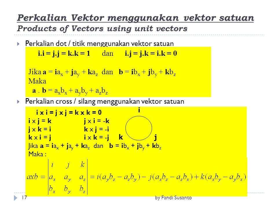 Perkalian Vektor menggunakan vektor satuan Products of Vectors using unit vectors  Perkalian dot / titik menggunakan vektor satuan  Perkalian cross