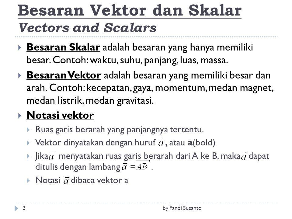 Besaran Vektor dan Skalar Vectors and Scalars  Besaran Skalar adalah besaran yang hanya memiliki besar. Contoh: waktu, suhu, panjang, luas, massa. 
