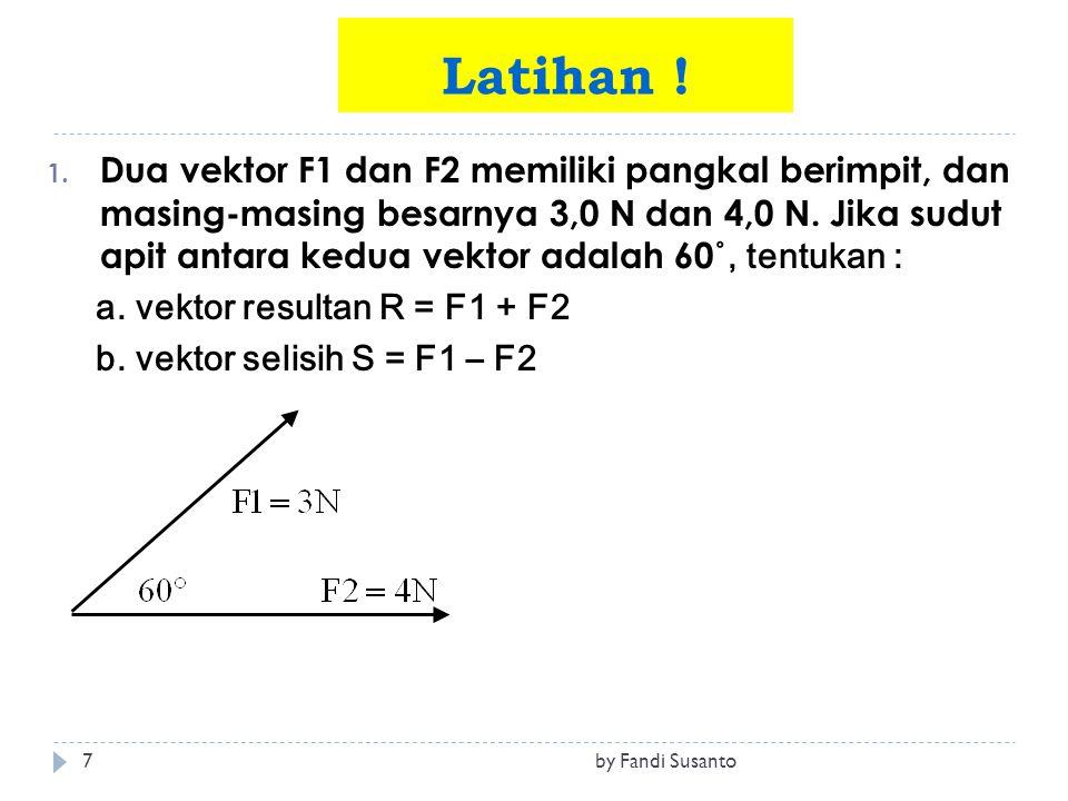1. Dua vektor F1 dan F2 memiliki pangkal berimpit, dan masing-masing besarnya 3,0 N dan 4,0 N. Jika sudut apit antara kedua vektor adalah 60 ˚, tentuk