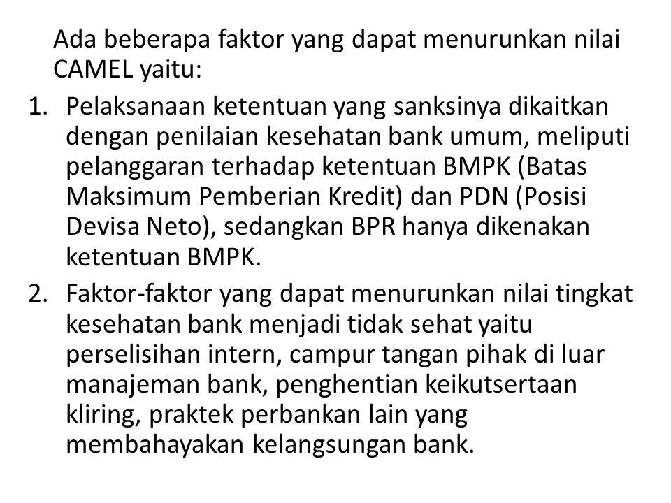 Ada beberapa faktor yang dapat menurunkan nilai CAMEL yaitu: 1.Pelaksanaan ketentuan yang sanksinya dikaitkan dengan penilaian kesehatan bank umum, meliputi pelanggaran terhadap ketentuan BMPK (Batas Maksimum Pemberian Kredit) dan PDN (Posisi Devisa Neto), sedangkan BPR hanya dikenakan ketentuan BMPK.
