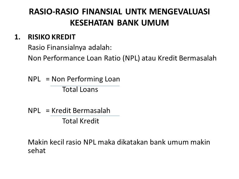 RASIO-RASIO FINANSIAL UNTK MENGEVALUASI KESEHATAN BANK UMUM 1.RISIKO KREDIT Rasio Finansialnya adalah: Non Performance Loan Ratio (NPL) atau Kredit Bermasalah NPL = Non Performing Loan Total Loans NPL = Kredit Bermasalah Total Kredit Makin kecil rasio NPL maka dikatakan bank umum makin sehat