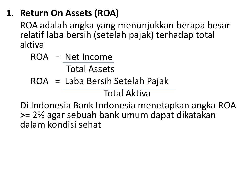 1.Return On Assets (ROA) ROA adalah angka yang menunjukkan berapa besar relatif laba bersih (setelah pajak) terhadap total aktiva ROA = Net Income Total Assets ROA = Laba Bersih Setelah Pajak Total Aktiva Di Indonesia Bank Indonesia menetapkan angka ROA >= 2% agar sebuah bank umum dapat dikatakan dalam kondisi sehat