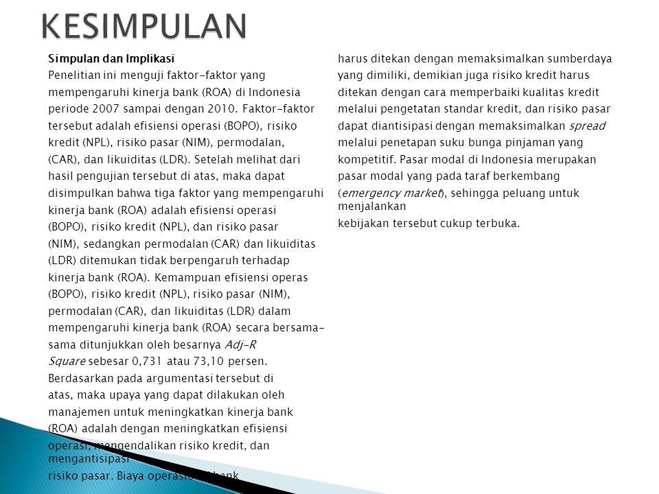 Simpulan dan Implikasi Penelitian ini menguji faktor-faktor yang mempengaruhi kinerja bank (ROA) di Indonesia periode 2007 sampai dengan 2010. Faktor-