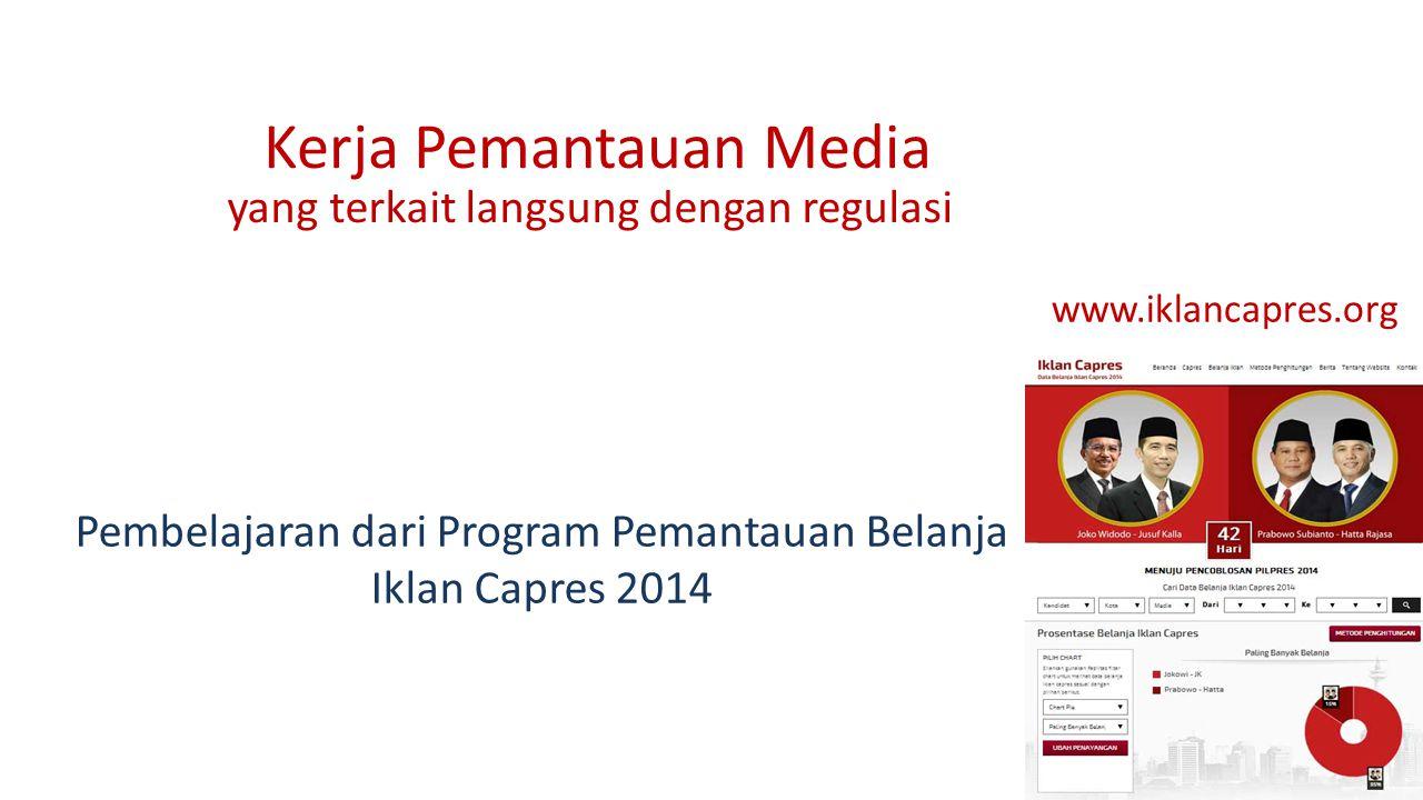 Kerja Pemantauan Media yang terkait langsung dengan regulasi www.iklancapres.org Pembelajaran dari Program Pemantauan Belanja Iklan Capres 2014