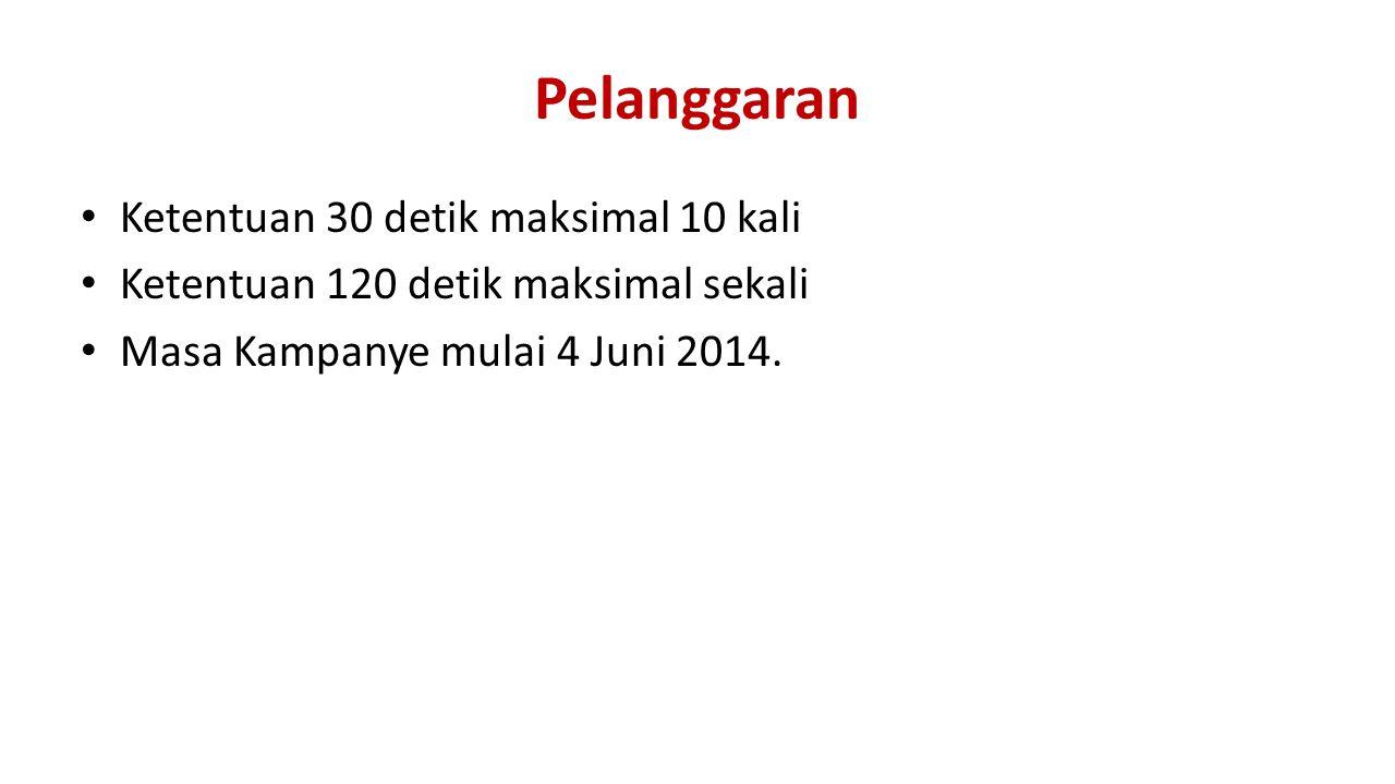 Pelanggaran Ketentuan 30 detik maksimal 10 kali Ketentuan 120 detik maksimal sekali Masa Kampanye mulai 4 Juni 2014.