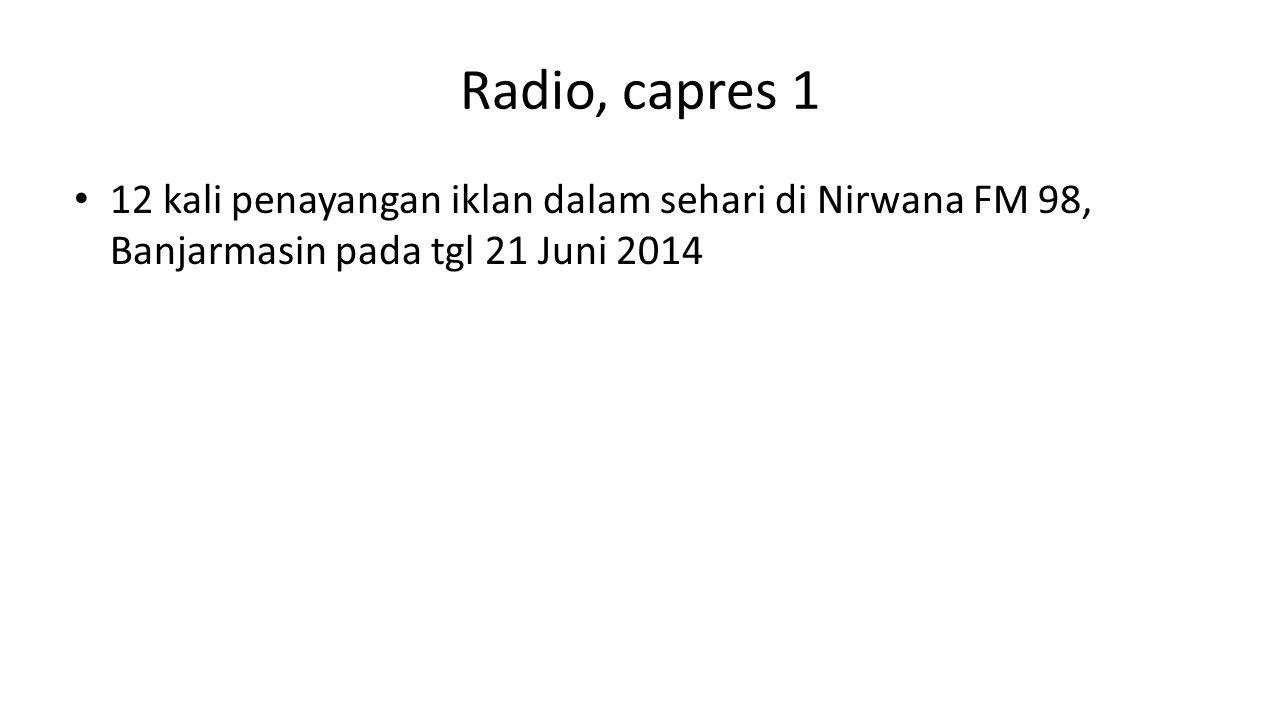 Radio, capres 1 12 kali penayangan iklan dalam sehari di Nirwana FM 98, Banjarmasin pada tgl 21 Juni 2014