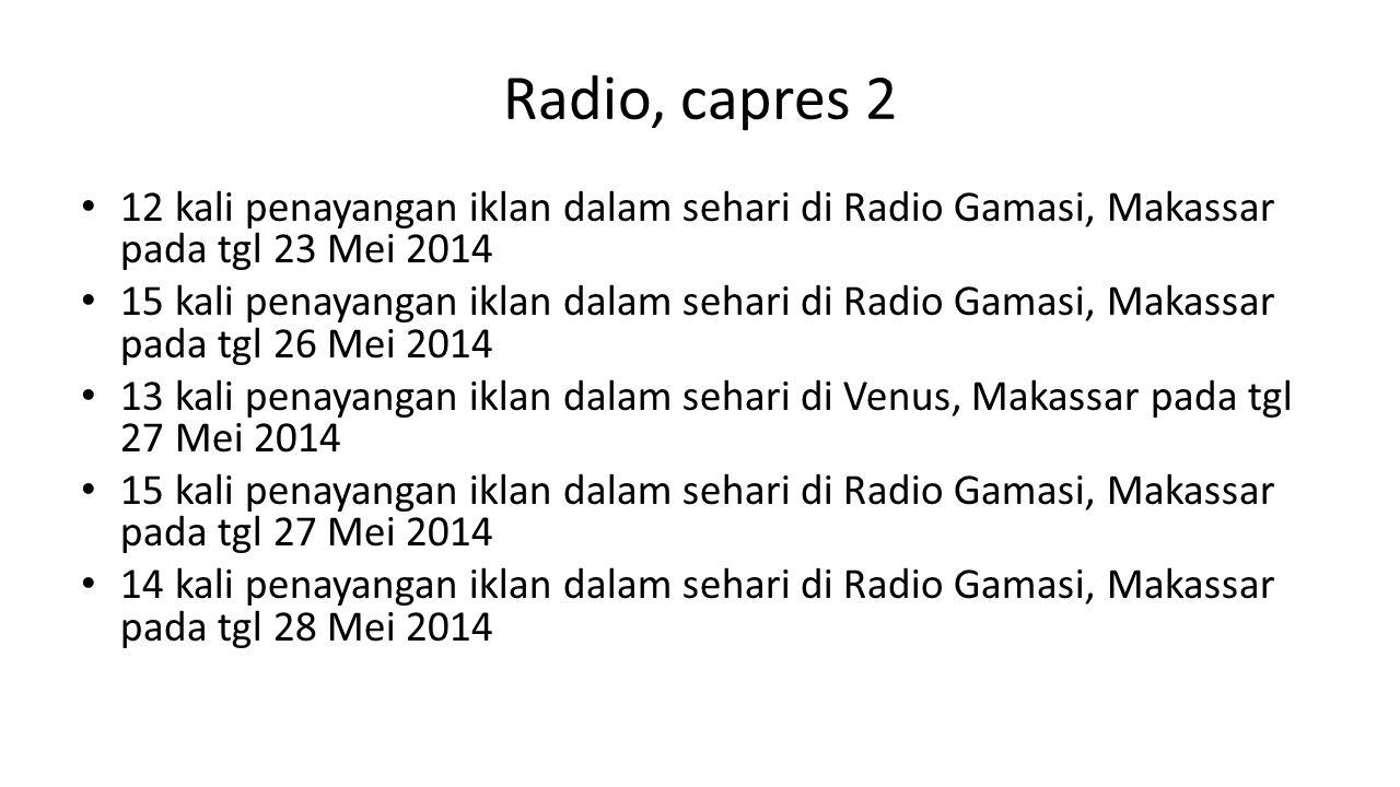 Radio, capres 2 12 kali penayangan iklan dalam sehari di Radio Gamasi, Makassar pada tgl 23 Mei 2014 15 kali penayangan iklan dalam sehari di Radio Gamasi, Makassar pada tgl 26 Mei 2014 13 kali penayangan iklan dalam sehari di Venus, Makassar pada tgl 27 Mei 2014 15 kali penayangan iklan dalam sehari di Radio Gamasi, Makassar pada tgl 27 Mei 2014 14 kali penayangan iklan dalam sehari di Radio Gamasi, Makassar pada tgl 28 Mei 2014