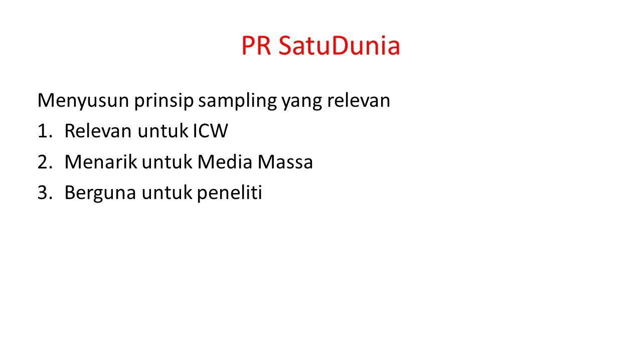 PR SatuDunia Menyusun prinsip sampling yang relevan 1.Relevan untuk ICW 2.Menarik untuk Media Massa 3.Berguna untuk peneliti