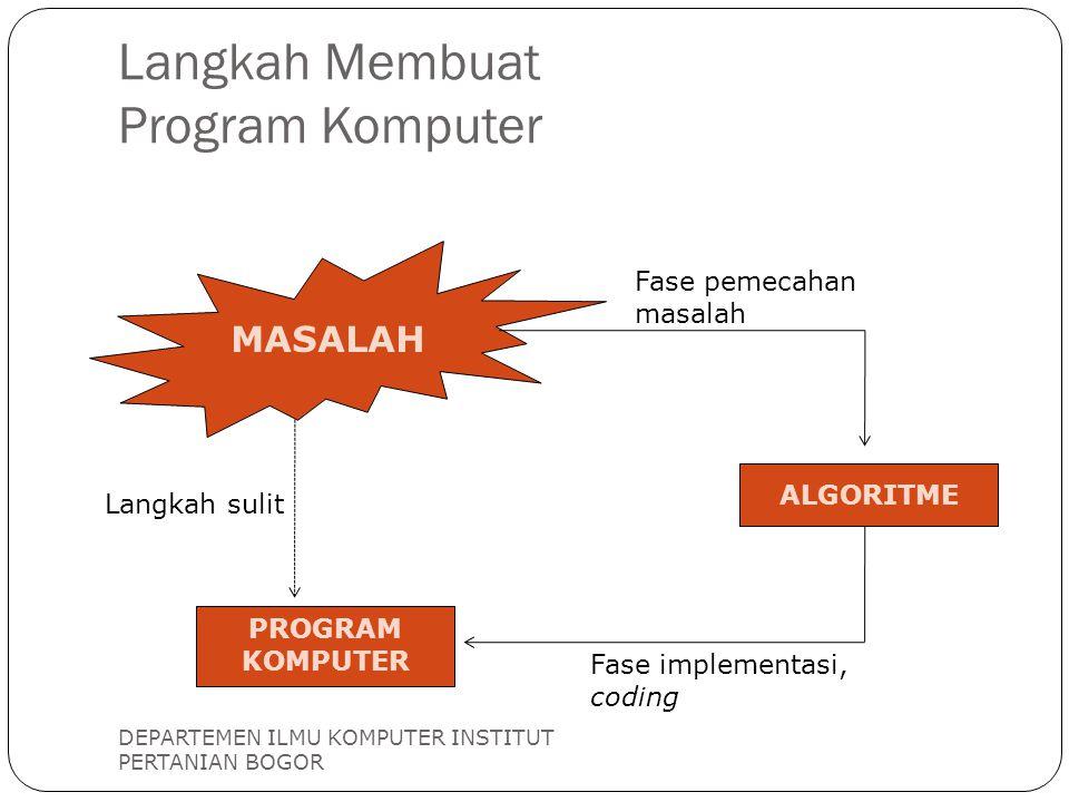 Langkah Membuat Program Komputer DEPARTEMEN ILMU KOMPUTER INSTITUT PERTANIAN BOGOR MASALAH ALGORITME PROGRAM KOMPUTER Fase pemecahan masalah Fase impl