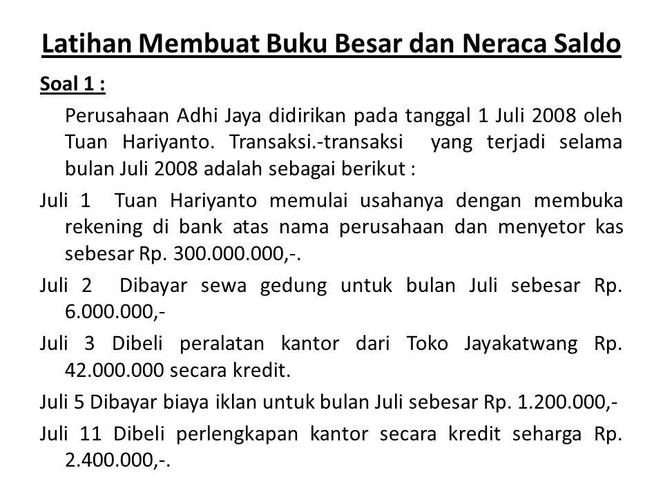 Latihan Membuat Buku Besar dan Neraca Saldo Soal 1 : Perusahaan Adhi Jaya didirikan pada tanggal 1 Juli 2008 oleh Tuan Hariyanto. Transaksi.-transaksi
