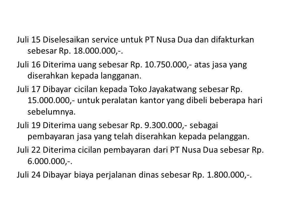 Juli 15 Diselesaikan service untuk PT Nusa Dua dan difakturkan sebesar Rp. 18.000.000,-. Juli 16 Diterima uang sebesar Rp. 10.750.000,- atas jasa yang