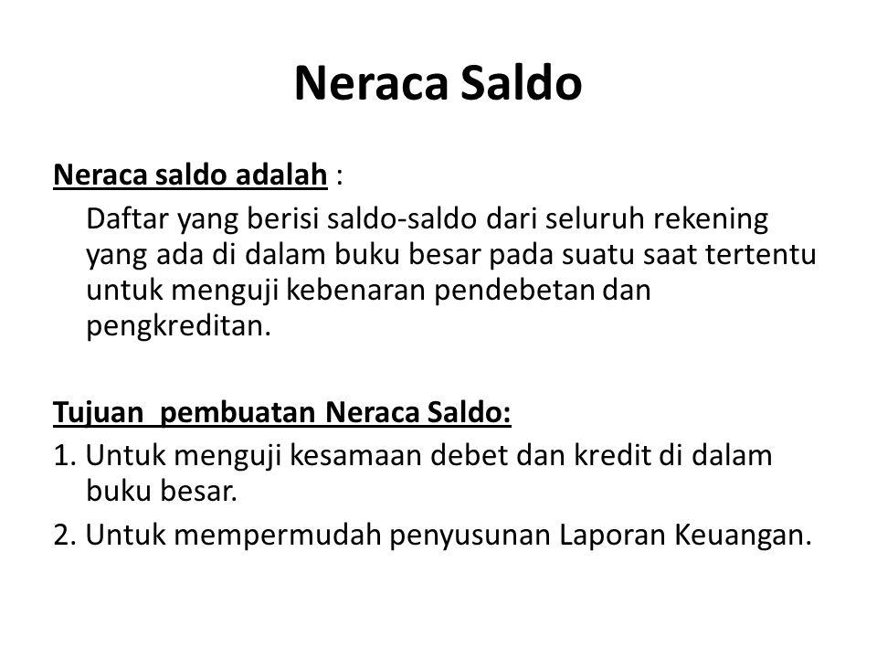 Neraca Saldo Neraca saldo adalah : Daftar yang berisi saldo-saldo dari seluruh rekening yang ada di dalam buku besar pada suatu saat tertentu untuk me