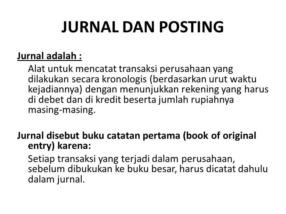 JURNAL DAN POSTING Jurnal adalah : Alat untuk mencatat transaksi perusahaan yang dilakukan secara kronologis (berdasarkan urut waktu kejadiannya) deng
