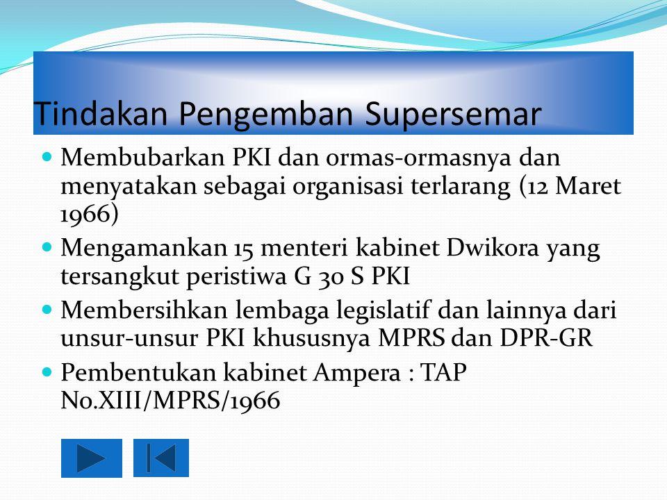 Tindakan Pengemban Supersemar Membubarkan PKI dan ormas-ormasnya dan menyatakan sebagai organisasi terlarang (12 Maret 1966) Mengamankan 15 menteri ka