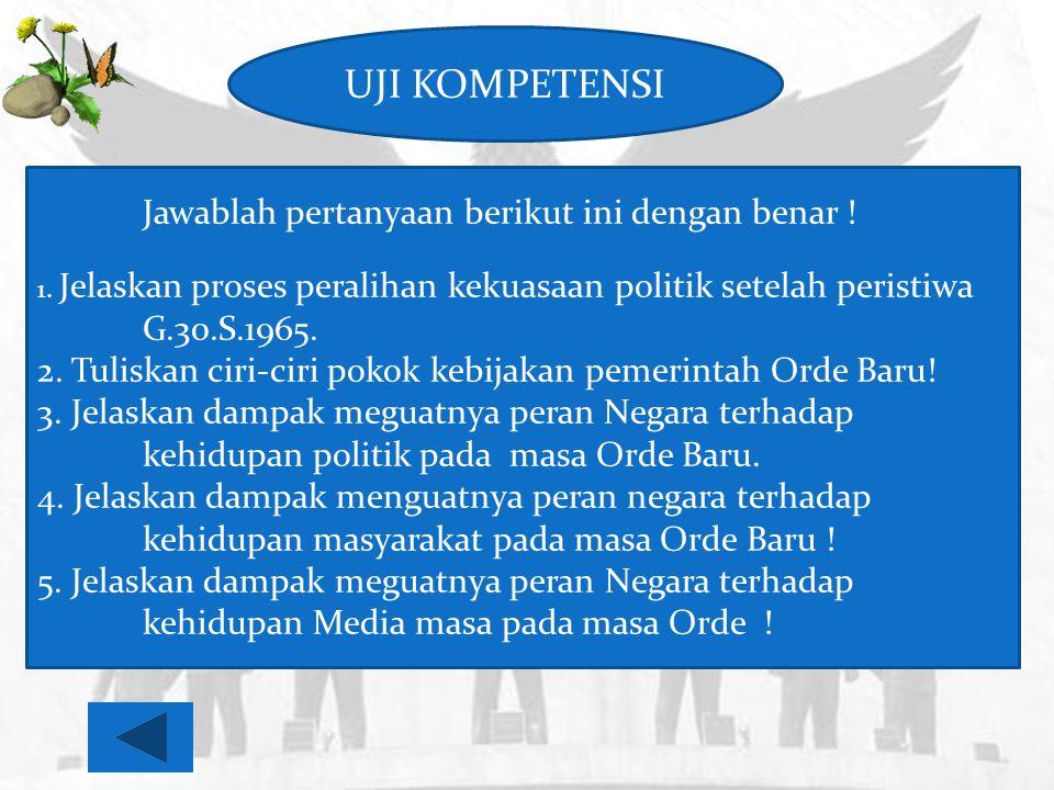 UJI KOMPETENSI Jawablah pertanyaan berikut ini dengan benar ! 1. Jelaskan proses peralihan kekuasaan politik setelah peristiwa G.30.S.1965. 2. Tuliska