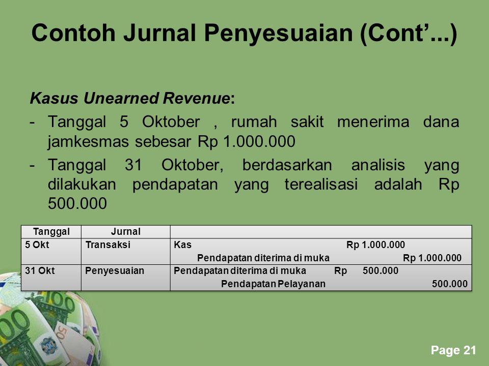 Powerpoint Templates Page 21 Contoh Jurnal Penyesuaian (Cont'...) Kasus Unearned Revenue: -Tanggal 5 Oktober, rumah sakit menerima dana jamkesmas sebe