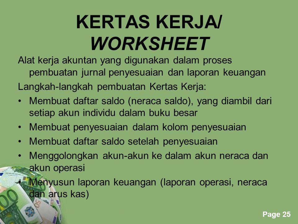 Powerpoint Templates Page 25 KERTAS KERJA/ WORKSHEET Alat kerja akuntan yang digunakan dalam proses pembuatan jurnal penyesuaian dan laporan keuangan
