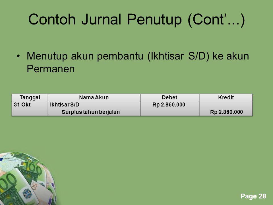 Powerpoint Templates Page 28 Contoh Jurnal Penutup (Cont'...) Menutup akun pembantu (Ikhtisar S/D) ke akun Permanen