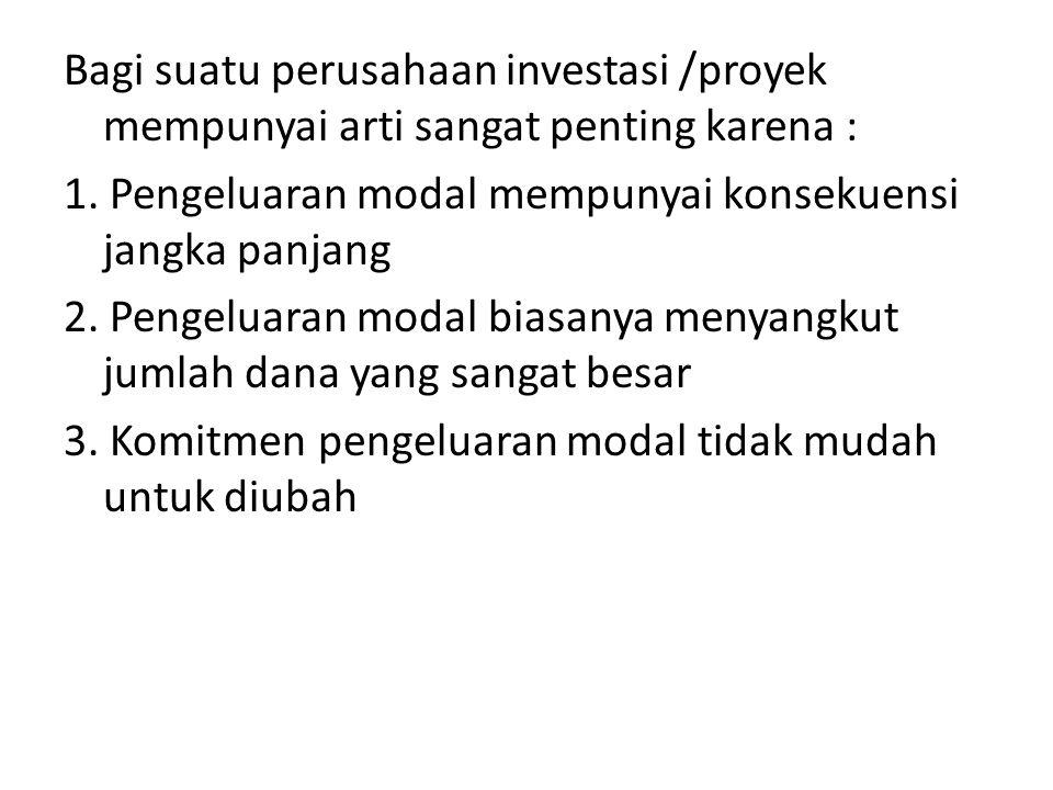 Bagi suatu perusahaan investasi /proyek mempunyai arti sangat penting karena : 1.