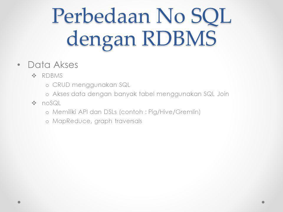 Perbedaan No SQL dengan RDBMS Data Akses  RDBMS o CRUD menggunakan SQL o Akses data dengan banyak tabel menggunakan SQL Join  noSQL o Memiliki API dan DSLs (contoh : Pig/Hive/Gremlin) o MapReduce, graph traversals