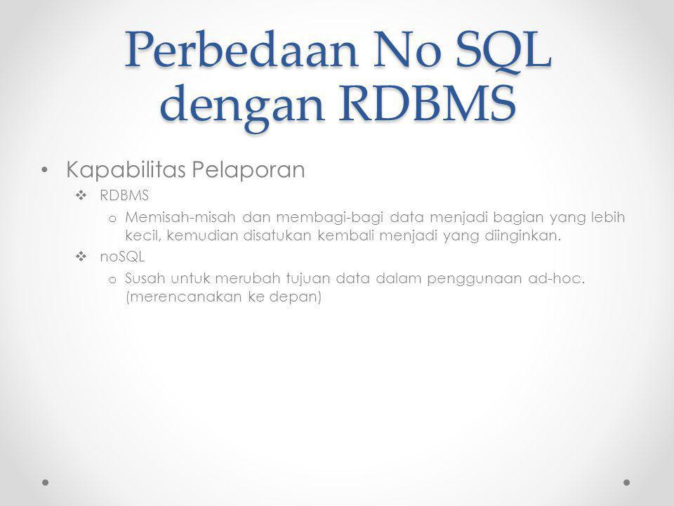 Perbedaan No SQL dengan RDBMS Kapabilitas Pelaporan  RDBMS o Memisah-misah dan membagi-bagi data menjadi bagian yang lebih kecil, kemudian disatukan kembali menjadi yang diinginkan.