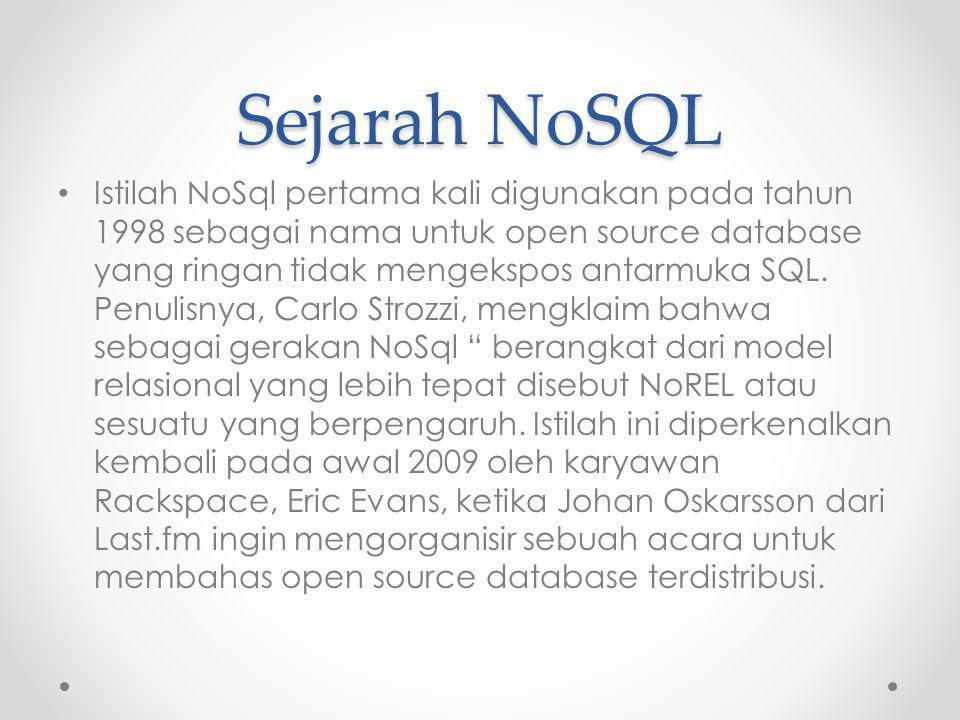 Sejarah NoSQL Istilah NoSql pertama kali digunakan pada tahun 1998 sebagai nama untuk open source database yang ringan tidak mengekspos antarmuka SQL.