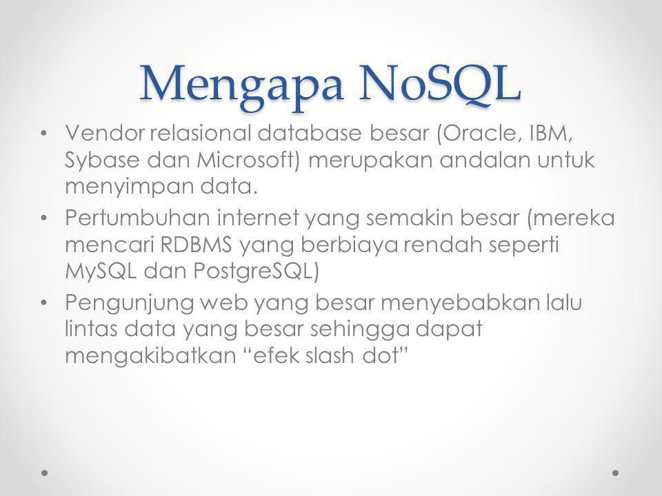 Mengapa NoSQL Vendor relasional database besar (Oracle, IBM, Sybase dan Microsoft) merupakan andalan untuk menyimpan data. Pertumbuhan internet yang s