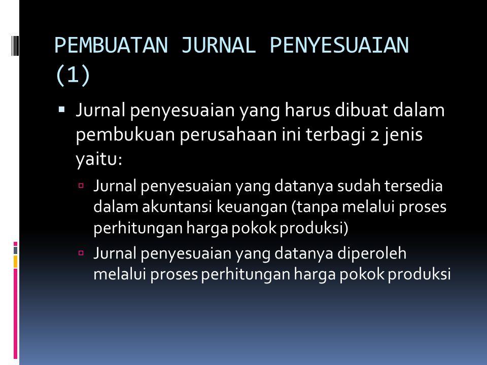 PEMBUATAN JURNAL PENYESUAIAN (1)  Jurnal penyesuaian yang harus dibuat dalam pembukuan perusahaan ini terbagi 2 jenis yaitu:  Jurnal penyesuaian yan