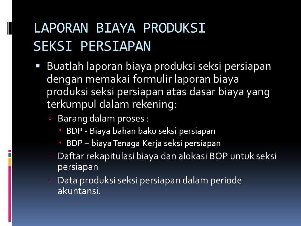 Data produksi seksi persiapan: Persediaan produk dalam proses awal1.200 m 2 Produk selesai yang ditranfer ke seksi penyelesaian 19,200 m 2 Persediaan produk dalam proses akhir (dengan tingkat penyelesaian 100% biaya bahan baku dan 80% biaya konversi) 1.600 m2 Produk hilang akhir dalam proses400 m2