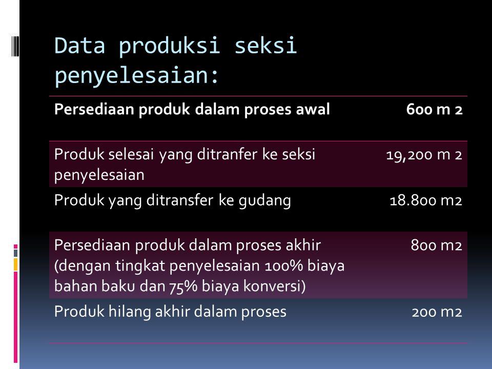 Data produksi seksi penyelesaian: Persediaan produk dalam proses awal600 m 2 Produk selesai yang ditranfer ke seksi penyelesaian 19,200 m 2 Produk yan