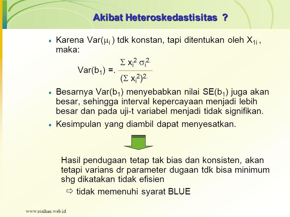 Akibat Heteroskedastisitas ?  Karena Var(  i ) tdk konstan, tapi ditentukan oleh X 1i, maka:  x i 2  i 2. Var(b 1 ) =. (  x i 2 ) 2.  Besarnya V