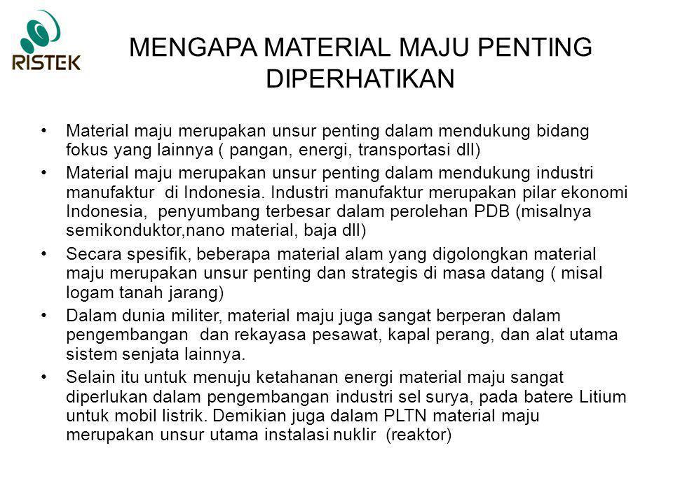 POTENSI SUMBERDAYA MATERIAL MAJU (1) SUMBER DAYA ALAM -Material dasar untuk material maju antara lain pasir silika, logam tanah jarang, lithium, nikel, timah, besi (laterit), dll -Sebagian besar material-material tersebut melimpah di Indonesia, akan tetapi selalu hanya dimanfaatkan secara konvensional sehingga nilai ekonominya menjadi rendah.