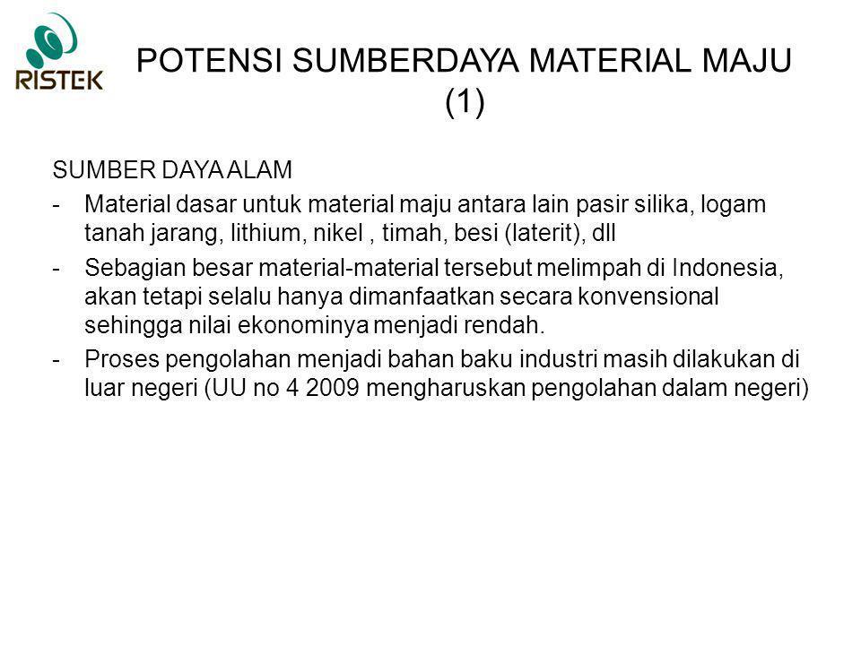 POTENSI SUMBERDAYA MATERIAL MAJU (2) SUMBER DAYA MANUSIA Peneliti-peneliti di Indonesia telah mumpuni dalam pengembangan teknologi material maju, sel surya  BPPT, LIPI, Tekmira, ITB, UI, ITB, PT Len –LTJ (logam tanah jarang)  Batan, LIPI, Tekmira ESDM, ITB, PT Timah –nano material  BPPT, ITB, UI, LIPI –batere lithium  LIPI, Batan, PT Nipress, ITS, UI, ITB –baja  PT KS, ITB, LIPI
