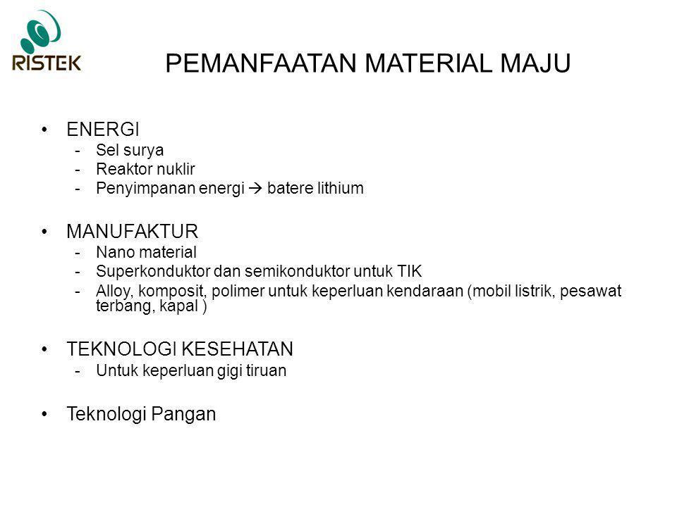 PEMANFAATAN MATERIAL MAJU ENERGI -Sel surya -Reaktor nuklir -Penyimpanan energi  batere lithium MANUFAKTUR -Nano material -Superkonduktor dan semikon