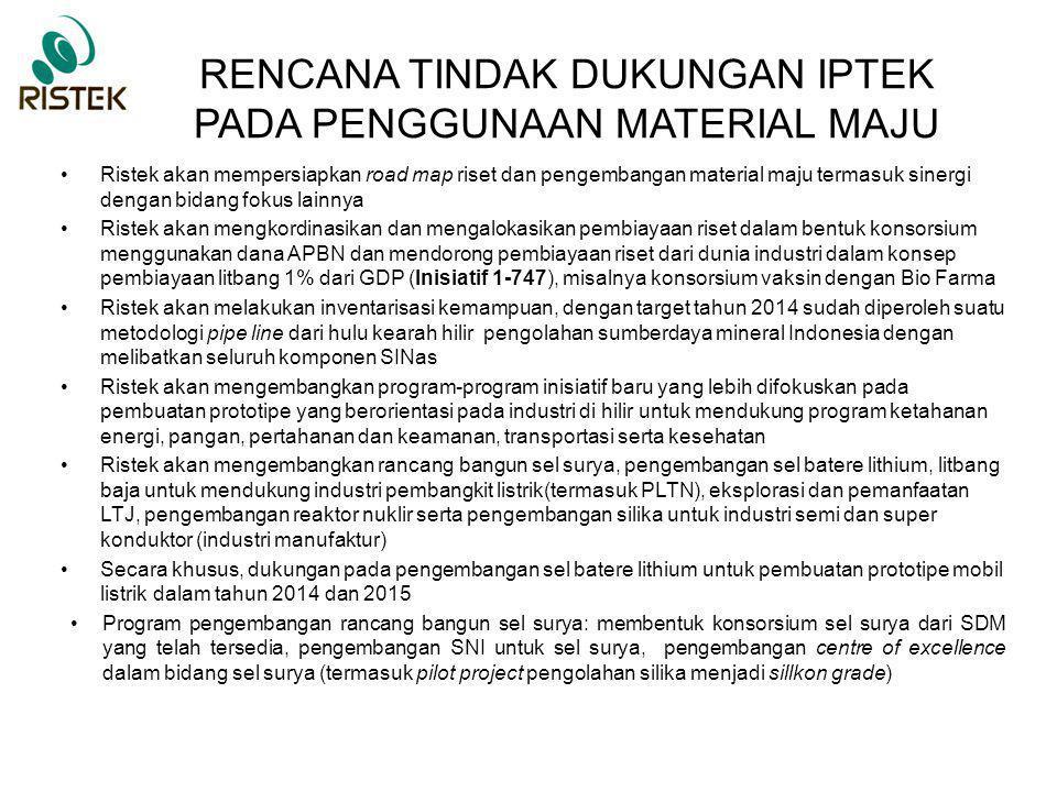 RENCANA TINDAK DUKUNGAN IPTEK PADA PENGGUNAAN MATERIAL MAJU Ristek akan mempersiapkan road map riset dan pengembangan material maju termasuk sinergi d