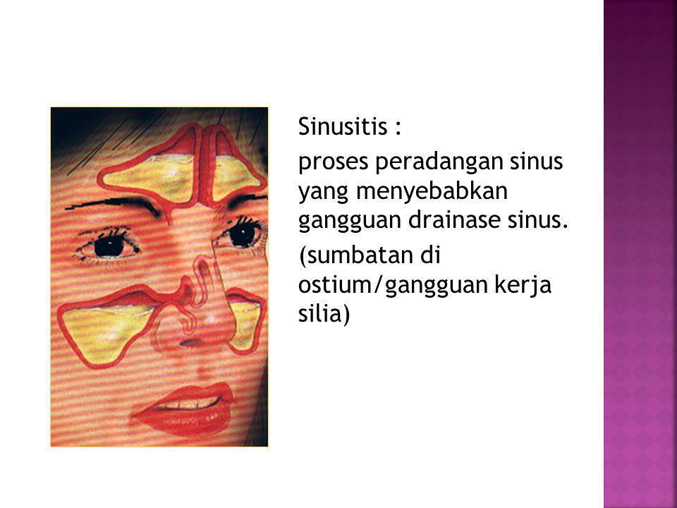Sinusitis : proses peradangan sinus yang menyebabkan gangguan drainase sinus. (sumbatan di ostium/gangguan kerja silia)