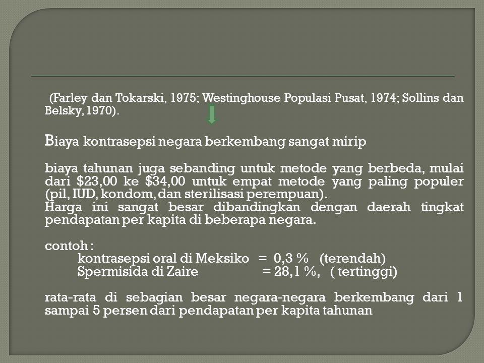 (Farley dan Tokarski, 1975; Westinghouse Populasi Pusat, 1974; Sollins dan Belsky, 1970).
