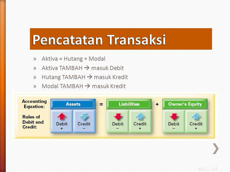 HAL : 14 » Aktiva = Hutang + Modal » Aktiva TAMBAH  masuk Debit » Hutang TAMBAH  masuk Kredit » Modal TAMBAH  masuk Kredit