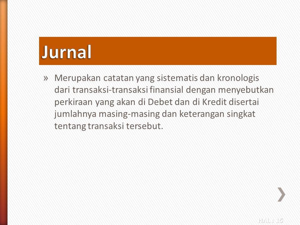 HAL : 15 » Merupakan catatan yang sistematis dan kronologis dari transaksi-transaksi finansial dengan menyebutkan perkiraan yang akan di Debet dan di