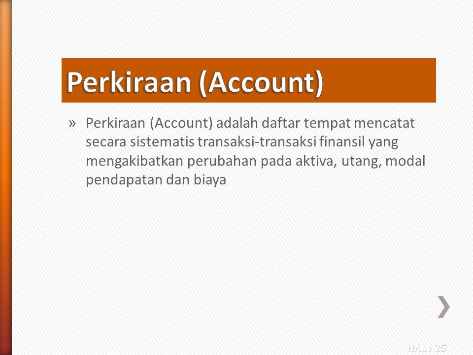 HAL : 25 » Perkiraan (Account) adalah daftar tempat mencatat secara sistematis transaksi-transaksi finansil yang mengakibatkan perubahan pada aktiva,