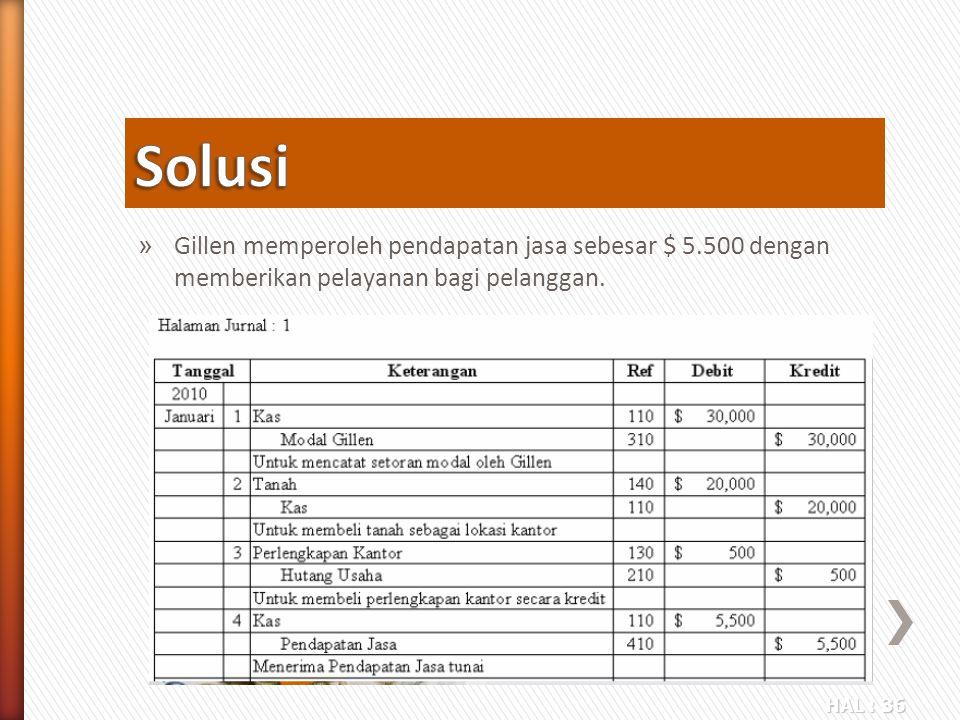 HAL : 36 » Gillen memperoleh pendapatan jasa sebesar $ 5.500 dengan memberikan pelayanan bagi pelanggan.