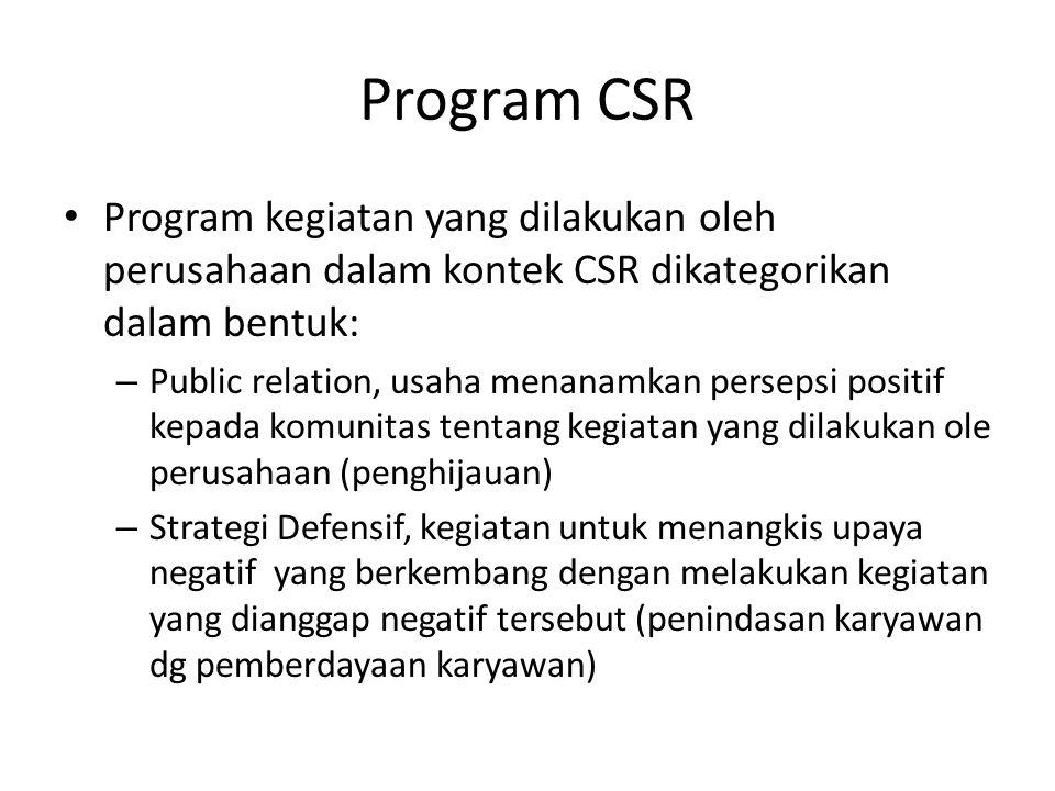 Program CSR Program kegiatan yang dilakukan oleh perusahaan dalam kontek CSR dikategorikan dalam bentuk: – Public relation, usaha menanamkan persepsi