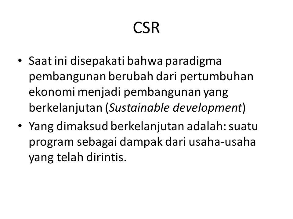 CSR Saat ini disepakati bahwa paradigma pembangunan berubah dari pertumbuhan ekonomi menjadi pembangunan yang berkelanjutan (Sustainable development)