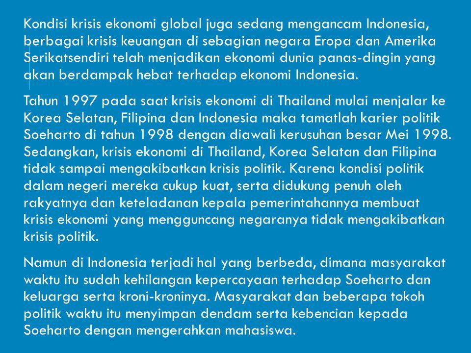 Kondisi krisis ekonomi global juga sedang mengancam Indonesia, berbagai krisis keuangan di sebagian negara Eropa dan Amerika Serikatsendiri telah menj