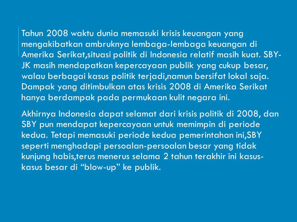Tahun 2008 waktu dunia memasuki krisis keuangan yang mengakibatkan ambruknya lembaga-lembaga keuangan di Amerika Serikat,situasi politik di Indonesia