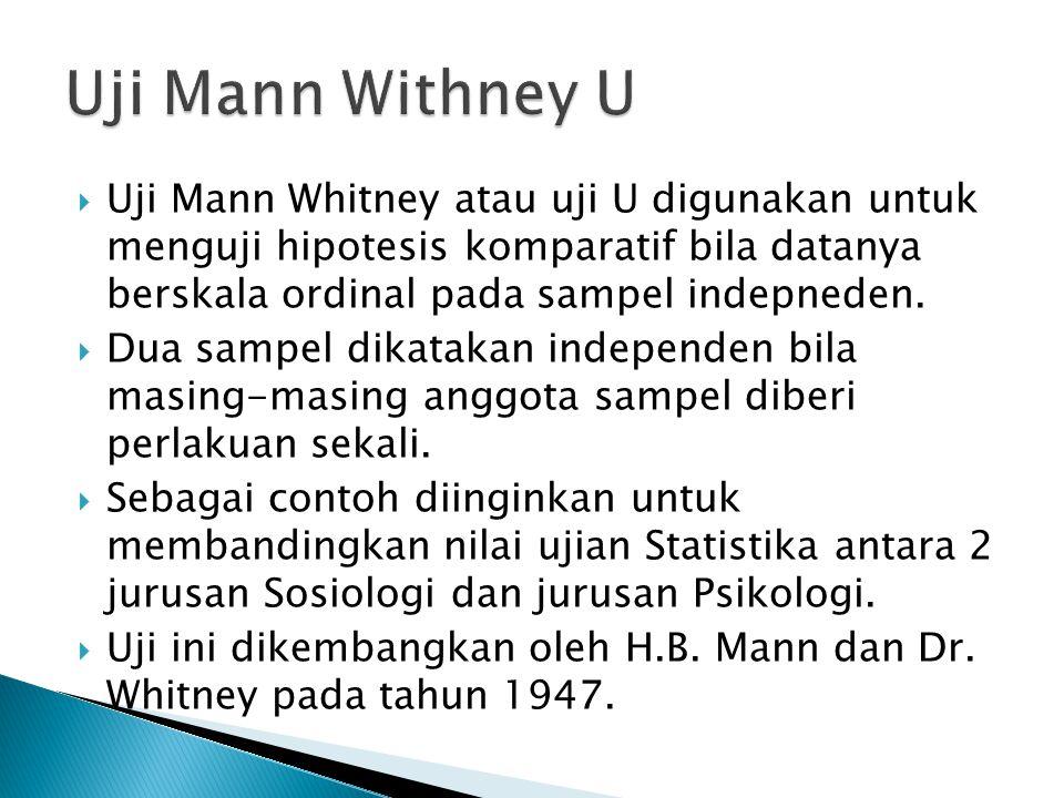  Uji Mann Whitney atau uji U digunakan untuk menguji hipotesis komparatif bila datanya berskala ordinal pada sampel indepneden.  Dua sampel dikataka