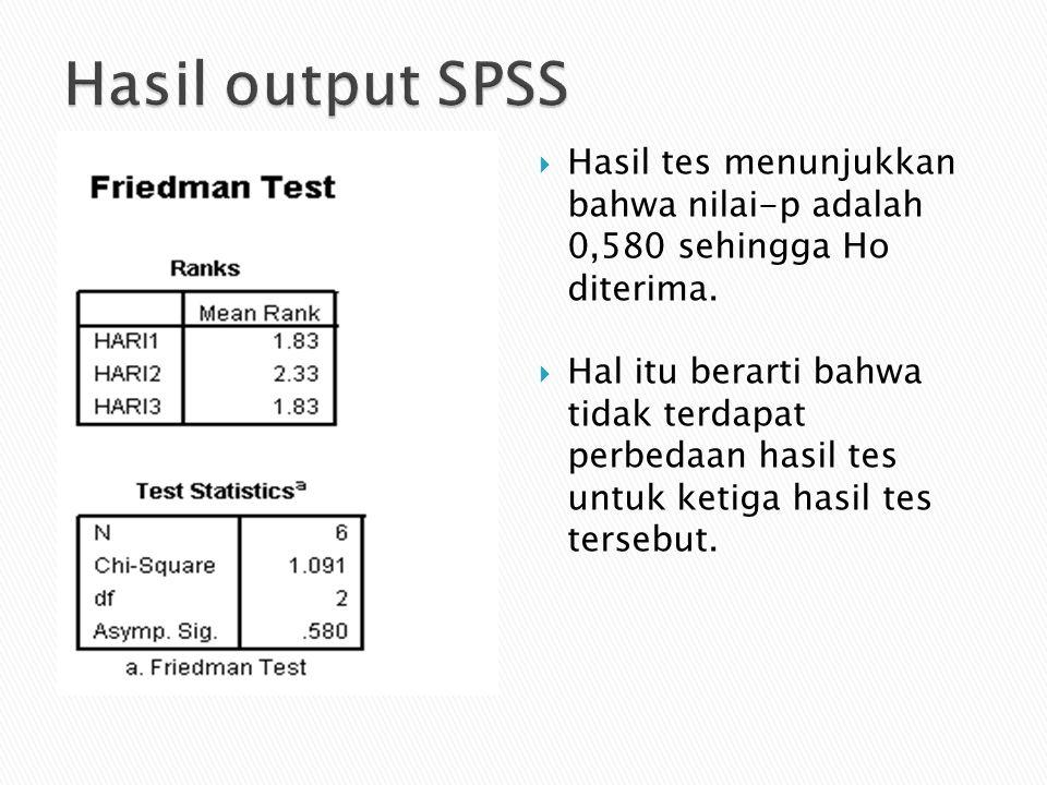  Hasil tes menunjukkan bahwa nilai-p adalah 0,580 sehingga Ho diterima.  Hal itu berarti bahwa tidak terdapat perbedaan hasil tes untuk ketiga hasil